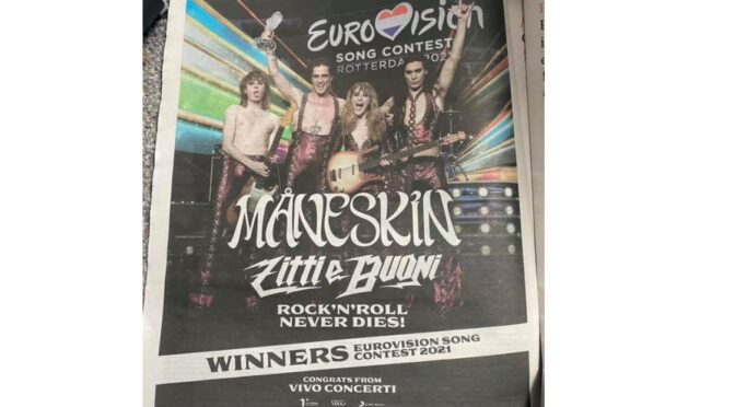 Eurovision still making headlines in UK with full page Måneskin celebration in Guardian newspaper